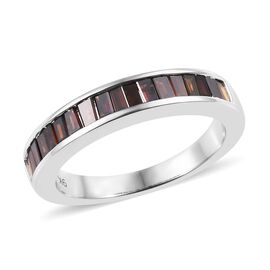 9K White Gold Red Diamond Half Eternity Ring 0.500 Ct.