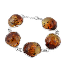 Rare Size Bi-Colour Baltic Amber Bracelet (Size 9 with Extender) in Sterling Silver