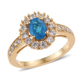 1.19 Ct Neon Apatite and Cambodian Zircon Halo Ring in Gold Plated Sterling Silver
