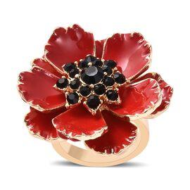 Black Austrian Crystal (Rnd) Poppy Flower Enamelled Ring in Gold Tone