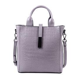 Sencillez Croc Embossed 100% Genuine Leather Convertible Bag in Light Grey