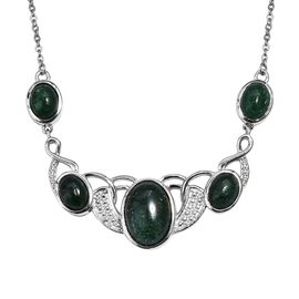 Green Aventurine (Ovl 14x10 mm) Necklace (Size 18) in Silver Tone  13.000  Ct.