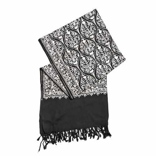 New Season-100% Merino Wool Black and White Colour Embroidered Shawl (Size 190x70 Cm)