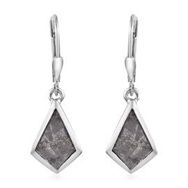 Tucson Special - Meteorite Drop Lever Back Earrings in Platinum Overlay Sterling Silver 8.50 Ct.