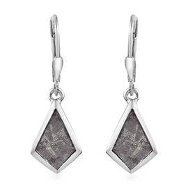 Meteorite Drop Lever Back Earrings in Platinum Overlay Sterling Silver 8.50 Ct.