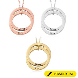 Personalise Enameled Engraved Interlock Necklace in Silver