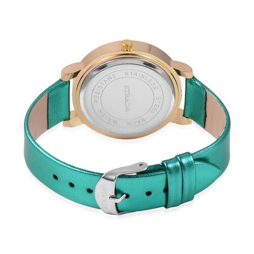 2 Piece Set - STRADA Watch with Green Colour Strap and Beads Stretchable Bracelet Set