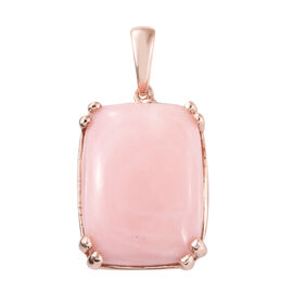 Pink Opal (Cush) Pendant in Rose Gold Overlay Sterling Silver 15.250 Ct