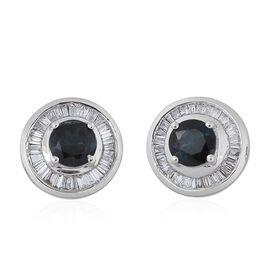 ILIANA 18K White Gold AAA Monte Belo Indicolite (Rnd), Diamond (SI/G-H) Stud Earrings (with Screw Back) 1.250 Ct.