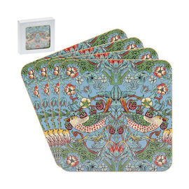 Set of 4 - Lesser & Pavey - Willam Morris Strawberry Thief Teal Coasters (10.5x10.5cm)
