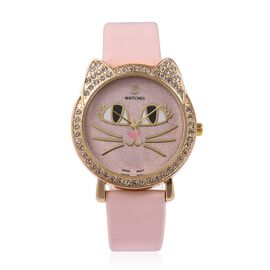 STRADA Japanese Movement White Crystal Studded Water Resistant Kitty Face Pink Stardust Dial Watch with Pink Strap
