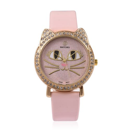 STRADA Japanese Movement White Austrian Crystal Studded Water Resistant Kitty Face Pink Stardust Dial Watch with Pink Strap