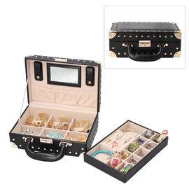 Briefcase Design Lizard Skin Pattern Two Layer  Anti-Tarnish Jewellery Storage Box with Inside Mirro
