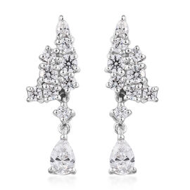 J Francis Platinum Overlay Sterling Silver (Pear and Rnd) Earrings (with Push Back) Made with SWAROV