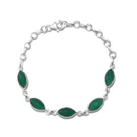 One Time Deal- Verde Onyx (Mrq) Bracelet (Size 7 - 8 inch with Extender) in Sterling Silver 8.720 Ct