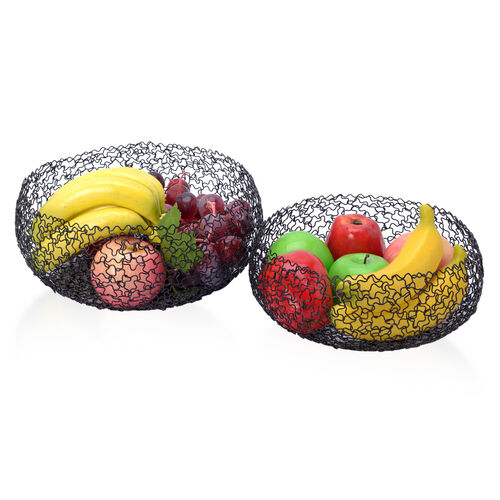 Set of 2 Designer Inspired Round Shape Hand Made Fruit Bowls of Wire Size 23x9, 27x11.5 Cm