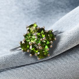 Russian Diopside Cluster Ring in Platinum Overlay Sterling Silver 1.50 Ct.