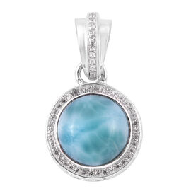 Bali Legacy Collection Larimar (Rnd), Natural White Cambodian Zircon Pendant in Sterling Silver 6.75