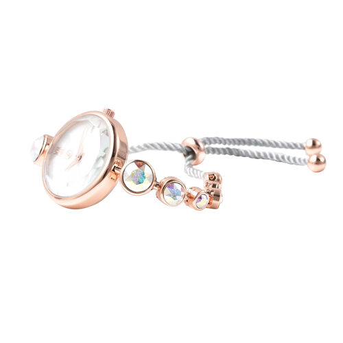 2 Piece Set - GENOA Japanese Movement Swarovski AB Crystal Studded Water Resistant Bracelet Watch and Adjustable Bolo Bracelet (Size 6-9.5) in Rose Gold Tone