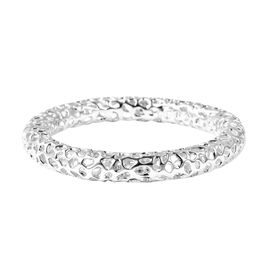 RACHEL GALLEY Rhodium Overlay Sterling Silver Allegro Bangle (Size 7.75), Silver wt 44.53 Gms