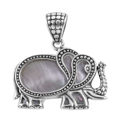 Royal Bali Collection Mother of Pearl Elephant Pendant in Sterling Silver 4 Grams