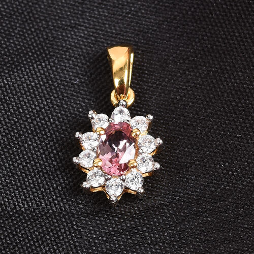 Pink Tourmaline and Natural Cambodian Zircon Halo Pendant in 14K Gold Overlay Sterling Silver 0.80 Ct.