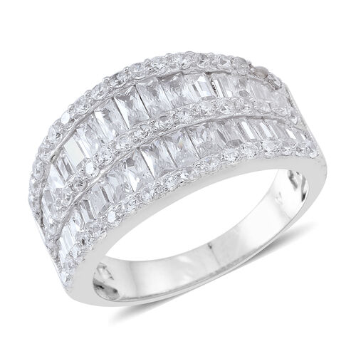 ELANZA AAA Simulated White Diamond (Bgt) Ring in Rhodium Plated Sterling Silver, Silver wt 7.20 Gms.