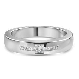 RHAPSODY 0.15 Ct Princess Cut Band Ring in 950 Platinum 7 grams IGI Certified VS EF