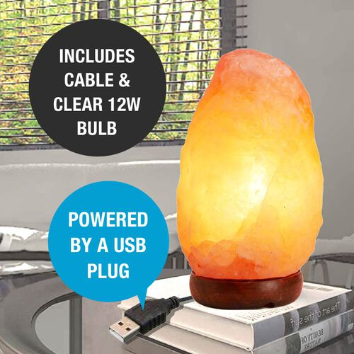 Natural Shape Himalayan Salt Lamp with Colour Changing LED & USB Plug (Size 15x7 Cm) - Pink 0.5 Kg (1.1 Lbs)