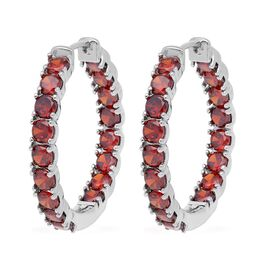 Simulated Garnet (Rnd) Inside Out Hoop Earrings (with Clasp Lock) in Silver Plated