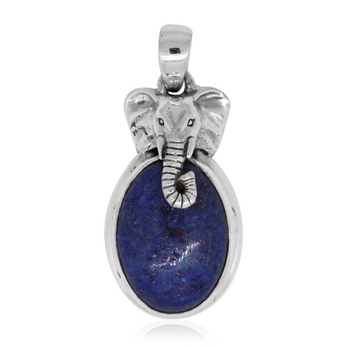 Royal Bali Collection Lapis Lazuli (Ovl) Goa Gajah Temple Inspired Pendant in Sterling Silver 11.210 Ct.