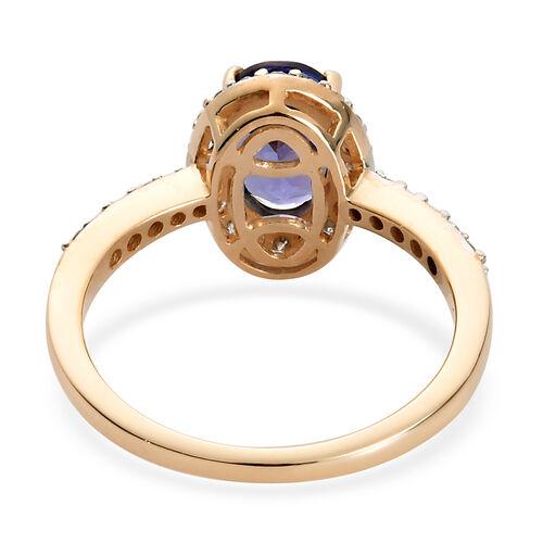 9K Yellow Gold Tanzanite and Diamond Ring 2.00 Ct.