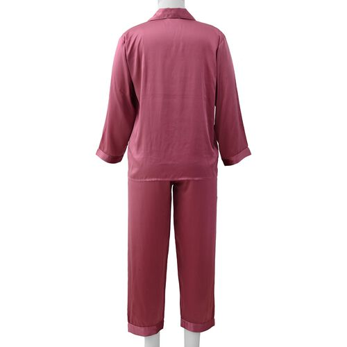 100% Mulberry Silk Pyjama Long Sleeves with Embroidery in Purple Colour - Size L