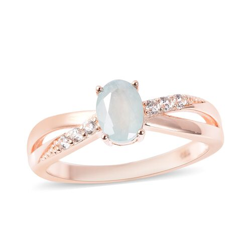 1.05 Ct Grandidierite and Zircon Ring in Rose Gold Plated Sterling Silver