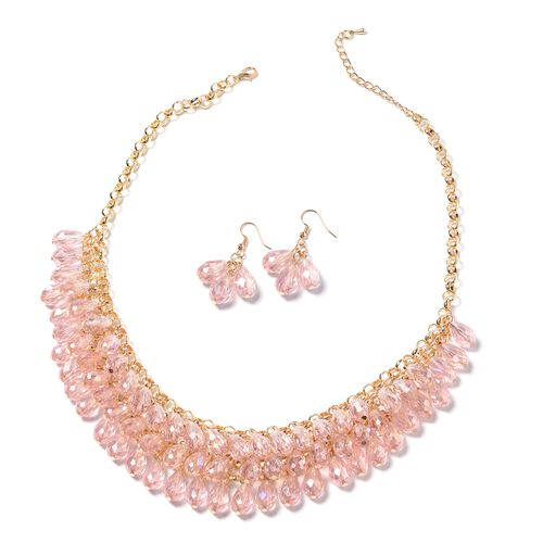 Set of 2- Simulated Morganite Necklace and Hook Earrings in Gold Bond.