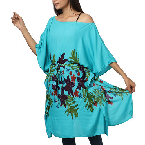 Floral printed Kaftan with Waist Belt (Size S to XXL 91x105cm) - Teal Green