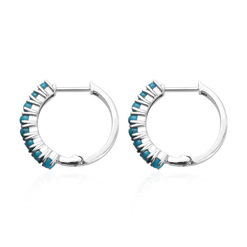 AA Arizona Sleeping Beauty Turquoise (Rnd) Hoop Earrings (with Clasp Lock) in Platinum Overlay Sterling Silver 1.50 Ct.