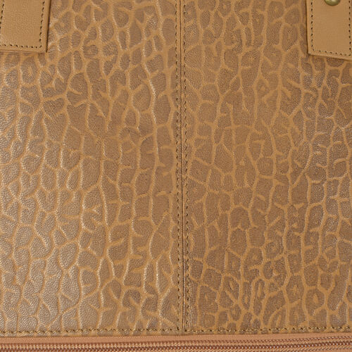 Premium Collection Classic Tan 100% Genuine Leather Leopard Print Embossed RFID Travel Size Bag  (42x10x31cm)