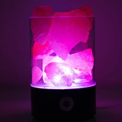 Himalyan Rock Salt Black Colour Lamp with Inter Changeable LED Colour and USB Wire (Size 14x9.4x6.4 Cm)