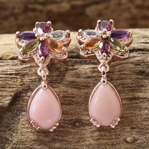 Peruvian Pink Opal (Pear), Hebei Peridot, Sky Blue Topaz, Citrin and Multi Gem Stone Earrings (with Push Back) in Rose Gold Overlay Sterling Silver 5.000 Ct. Silver wt 5.24 Gms.