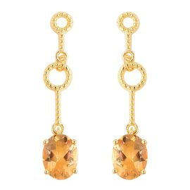 Citrine (Ovl) Earrings (with Push Back) in Yellow Gold Overlay Sterling Silver 4.50 Ct.