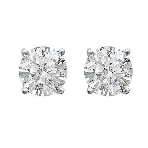 ILIANA 18K White Gold AGI Certified Diamond (Rnd) (SI G-H) Stud Earrings (with Screw Back) 1.000 Ct.