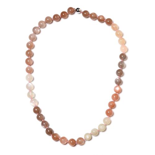 Limited Available- Very Rare Size Multi Moonstone (Rnd 9-11mm) Beads Necklace (Size 20) with Magnetic Lock in Rhodium Plated Sterling Silver 261.000  Ct.