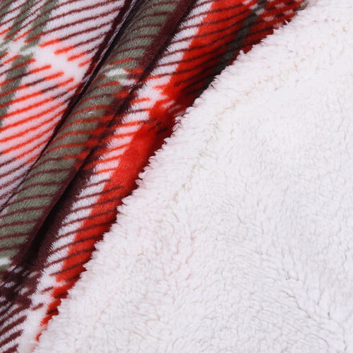 Check Pattern Flannel Sherpa Blanket (Size 190x150cm) - White, Red and Multi Colour