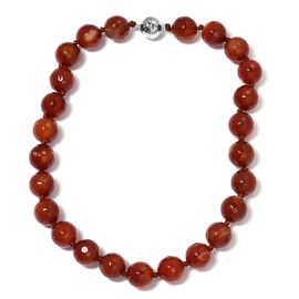 One Time Deal- Red Agate (Rnd 14-16mm) Beads Necklace (Size 18) in Sterling Silver with Magnetic Lock 682.000 Ct
