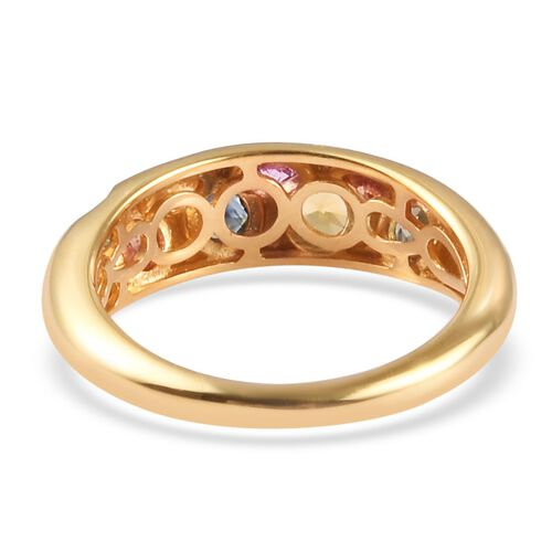 Rainbow Sapphire Ring in 14K Gold Overlay Sterling Silver 1.00 Ct.