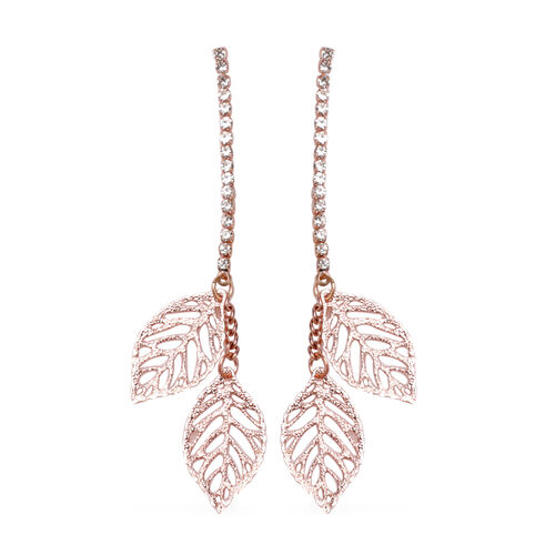 9 Pair of Earring - White Austrian Crystal Earrings in Rose Gold Plated