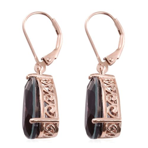 Colour Change Alexandrite Quartz (Pear) Lever Back Earrings in Rose Gold Overlay Sterling Silver 8.750 Ct.