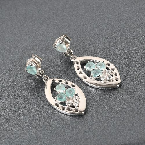 AAA Grandidierite and Natural Cambodian Zircon Dangling Earrings (with Push Back) in Platinum Overlay Sterling Silver 1.20 Ct