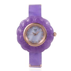 EON 1962 Carved Purple Jade MOP Swiss Movement Water Resistant Watch.Total Ct Wt 116 Cts